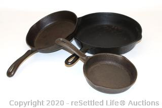 Wagner Ware Cast Iron Skillets (3)