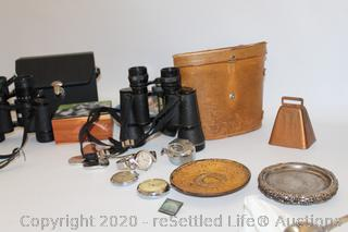 Binoculars, Cat Portraits Plate, Watches, Silver Plate and More