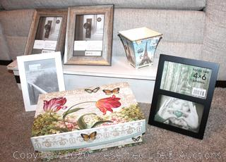 White Distressed Wall Shelf with Picture Frames