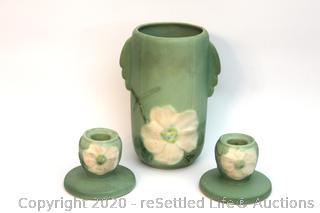 Vintage Weller Vase with Candle Holders