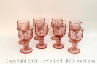 Set of Eight Franciscan Cabaret Pink Stemmed Glasses
