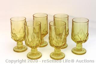 Set of Six Vintage Franciscan Cabaret Cornsilk Goblets
