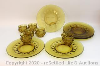 Vintage Indiana Glass King's Crown Amber Snack Plates and Cups