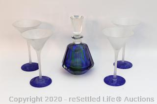 Vintage Glass Decanter and New Martini Glasses