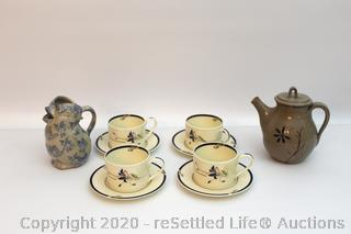 """Vintage Bybee Blue Sponge Pottery Chick Pitcher and Gorham Town and Country """"Melon Bud"""" Fine China Teacups and Saucers"""