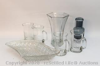 Hoosier Glass Vase,Glass Serving Dish, Four Vintage Glass Mugs and Smoked Glass Decanter with Top