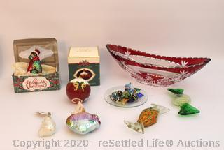 Christopher Radco Ornaments, Fitz and Floyd Pomander, Vintage Ruby Glass Bowl, and More