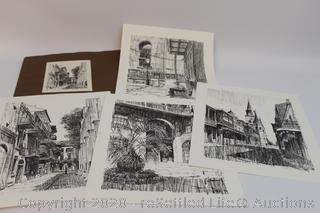 Four Don Davey's Signed Sketches of the New Orleans French Quarter