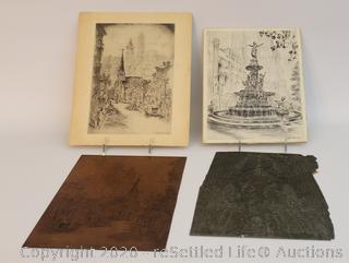 Two Caroline Williams Prints and Rare Metal Printing Plates