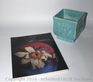 Rookwood Square Planter Vase and Rookwood Book