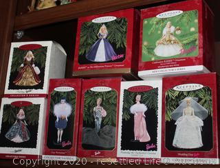 Eight Collectible Hallmark Barbie Ornaments
