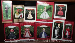 Ten Collectible Barbie Hallmark Ornaments