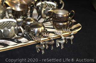 Silverplate and Wood Tray