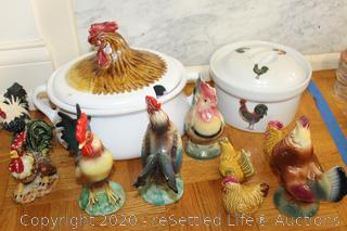 Rooster Theme Tureen Casserole and Figurines