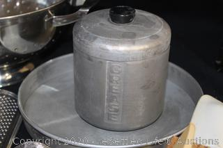 Vintage Grease Tin, Colander, Graters, Strainer, Press and More