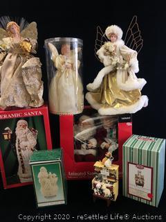 San Francisco Music Box Company Figurine and a Variety of Holiday Decor
