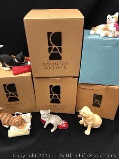 Variety of Country Artist Cat Figurines