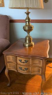 Vintage Hammary End Table and Brass Lamp