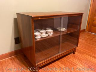 Two Sided Vintage Wood and Glass Display Cabinet