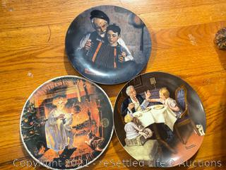 China, Norman Rockwell Decorative Plates and Collectible Glassware