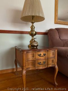 Vintage End Table and Brass Lamp