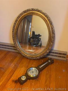 Brass Mirror and Vintage Thermometer