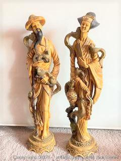 Pair of Carved Asian Figurines