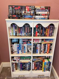 Bookshelf with VHS Tapes