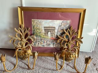 Framed Print and Wall Sconces