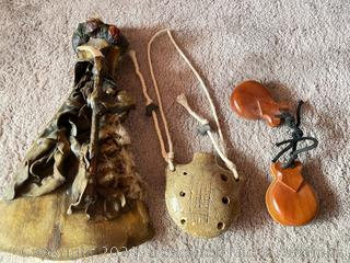 Ceramic Flute Pendant, Carved Wood Figurine and Hand Clapper