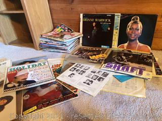 Collection of Vinyl Records and Life Magazines