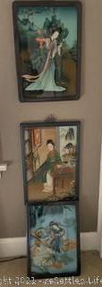 Trio of Asian Framed Art