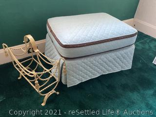 Quilted Ottoman and Magazine Rack