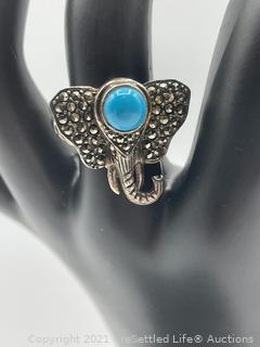 Sterling Silver Marcasite Elephant Ring