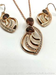SHB Rose Gold Necklace and Earrings