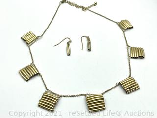 Antique Gold Necklace and Earrings