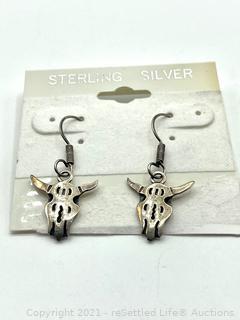 Sterling Silver Cow Skull Earrings