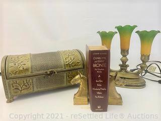 Vintage Table Lamp and Book Ends