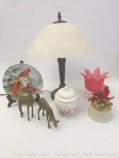Table Lamp and Bird Decor