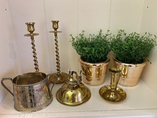 Vintage Candlesticks and Silver Plate Decor