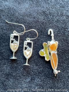 Sterling Silver Earrings and Brooch