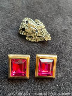 S.A.L Swarovski Earrings and Vintage Brooch