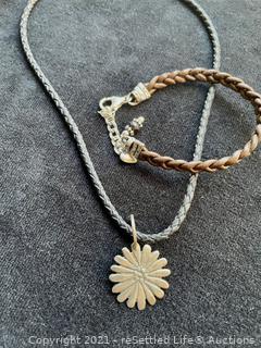 Sterling Silver Necklace and Bracelet