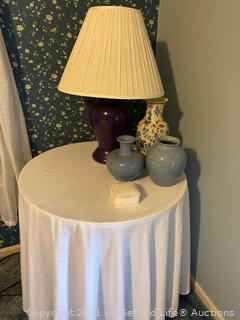 Metal Table, Lamp and Vases