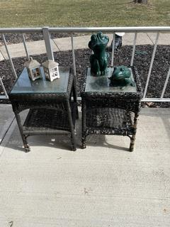 Pair of Black Wicker Side Tables