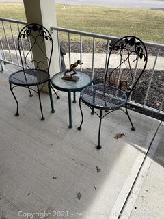 Pair of Wrought Iron Chairs and Side Table