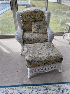 Wicker Chair with Ottoman