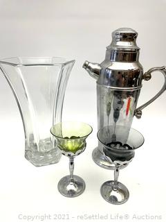 Hoosier Glass Vase and Cocktail Mixer