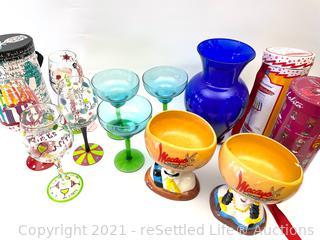 Macayo Glasses and Hand Painted Wine Glasses