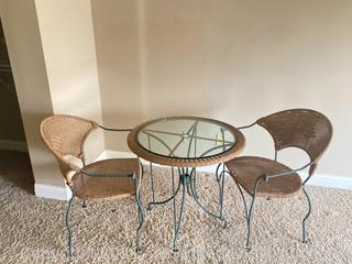 Wicker and Glass Bistro Table and Chairs